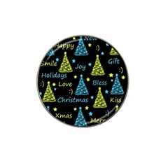 New Year pattern - blue and yellow Hat Clip Ball Marker