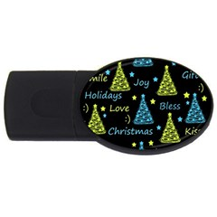 New Year pattern - blue and yellow USB Flash Drive Oval (4 GB)