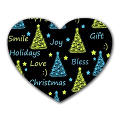 New Year pattern - blue and yellow Heart Mousepads