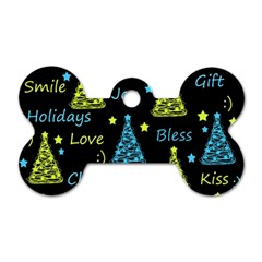 New Year pattern - blue and yellow Dog Tag Bone (Two Sides)