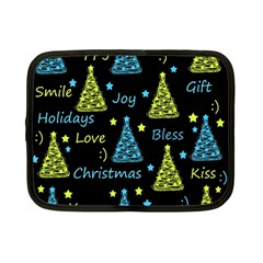 New Year pattern - blue and yellow Netbook Case (Small)