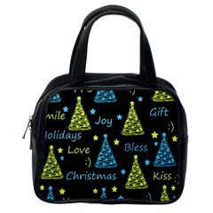 New Year pattern - blue and yellow Classic Handbags (One Side)
