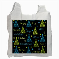 New Year pattern - blue and yellow Recycle Bag (Two Side)