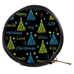 New Year pattern - blue and yellow Mini Makeup Bags