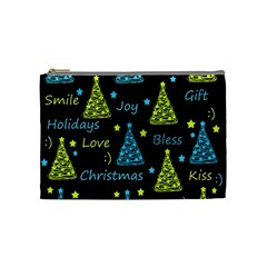 New Year pattern - blue and yellow Cosmetic Bag (Medium)