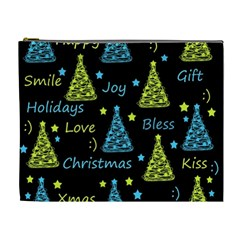 New Year pattern - blue and yellow Cosmetic Bag (XL)