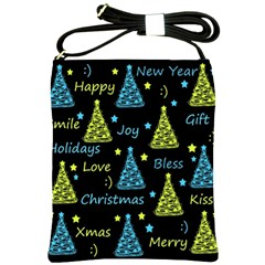 New Year pattern - blue and yellow Shoulder Sling Bags