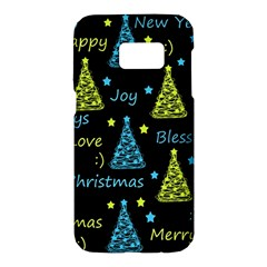 New Year pattern - blue and yellow Samsung Galaxy S7 Hardshell Case