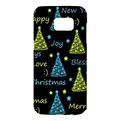 New Year pattern - blue and yellow Samsung Galaxy S7 Edge Hardshell Case