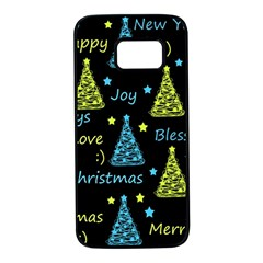 New Year pattern - blue and yellow Samsung Galaxy S7 Black Seamless Case