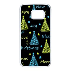 New Year pattern - blue and yellow Samsung Galaxy S7 White Seamless Case