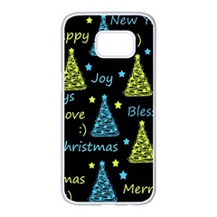 New Year pattern - blue and yellow Samsung Galaxy S7 edge White Seamless Case