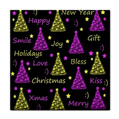 New Year Pattern   Yellow And Purple Tile Coasters