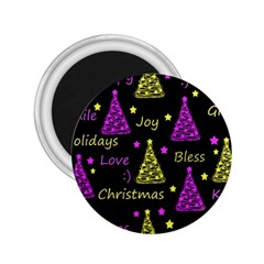 New Year Pattern   Yellow And Purple 2 25  Magnets