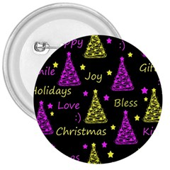 New Year Pattern   Yellow And Purple 3  Buttons