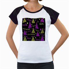 New Year Pattern   Yellow And Purple Women s Cap Sleeve T