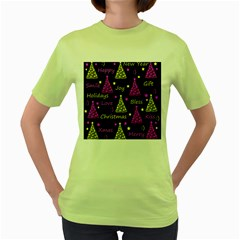 New Year Pattern   Yellow And Purple Women s Green T Shirt