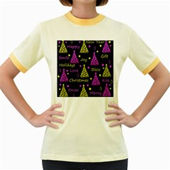 New Year Pattern   Yellow And Purple Women s Fitted Ringer T Shirts