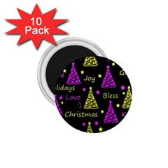 New Year Pattern   Yellow And Purple 1 75  Magnets (10 Pack)