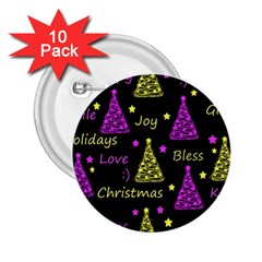 New Year Pattern   Yellow And Purple 2 25  Buttons (10 Pack)