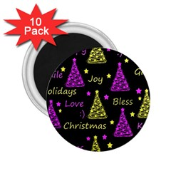 New Year Pattern   Yellow And Purple 2 25  Magnets (10 Pack)