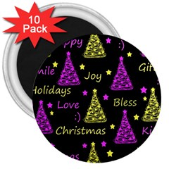New Year Pattern   Yellow And Purple 3  Magnets (10 Pack)