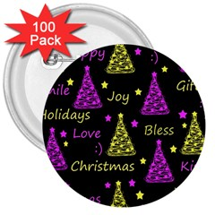 New Year pattern - Yellow and purple 3  Buttons (100 pack)