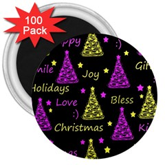 New Year Pattern   Yellow And Purple 3  Magnets (100 Pack)