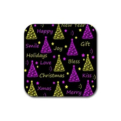 New Year Pattern   Yellow And Purple Rubber Square Coaster (4 Pack)