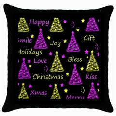 New Year Pattern   Yellow And Purple Throw Pillow Case (black)