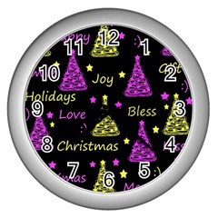 New Year Pattern   Yellow And Purple Wall Clocks (silver)