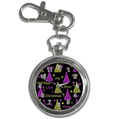 New Year Pattern   Yellow And Purple Key Chain Watches