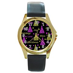 New Year Pattern   Yellow And Purple Round Gold Metal Watch