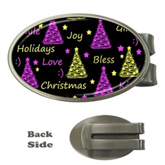 New Year Pattern   Yellow And Purple Money Clips (oval)