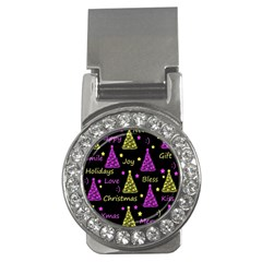 New Year Pattern   Yellow And Purple Money Clips (cz)