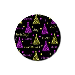 New Year Pattern   Yellow And Purple Rubber Round Coaster (4 Pack)