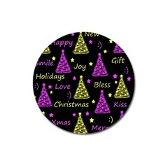 New Year Pattern   Yellow And Purple Magnet 3  (round)