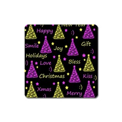 New Year Pattern   Yellow And Purple Square Magnet