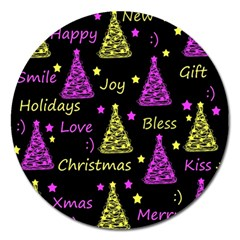 New Year Pattern   Yellow And Purple Magnet 5  (round)
