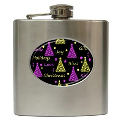 New Year Pattern   Yellow And Purple Hip Flask (6 Oz)