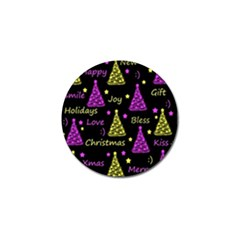 New Year Pattern   Yellow And Purple Golf Ball Marker (4 Pack)