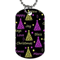New Year Pattern   Yellow And Purple Dog Tag (two Sides)