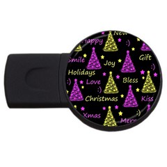 New Year Pattern   Yellow And Purple Usb Flash Drive Round (2 Gb)