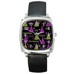 New Year Pattern   Yellow And Purple Square Metal Watch