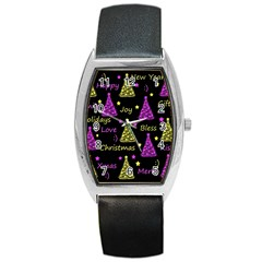 New Year Pattern   Yellow And Purple Barrel Style Metal Watch