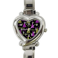 New Year Pattern   Yellow And Purple Heart Italian Charm Watch