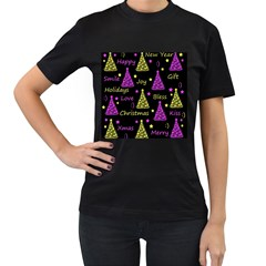 New Year Pattern   Yellow And Purple Women s T Shirt (black) (two Sided)