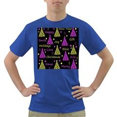 New Year Pattern   Yellow And Purple Dark T Shirt