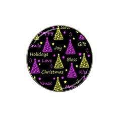New Year pattern - Yellow and purple Hat Clip Ball Marker (4 pack)