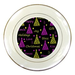 New Year Pattern   Yellow And Purple Porcelain Plates